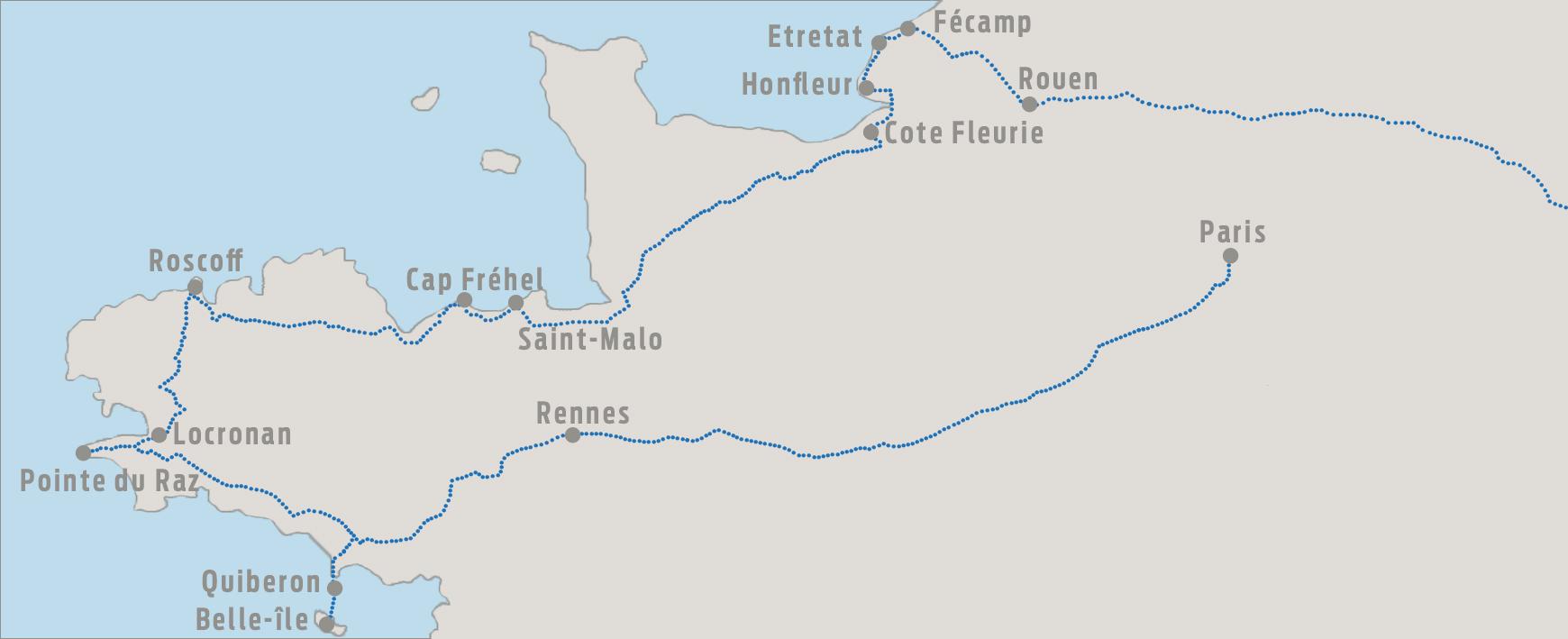 Karte Normandie Bretagne mit Belle Ile